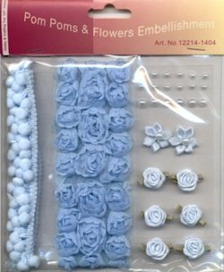 Ribbos and roses set - light blue